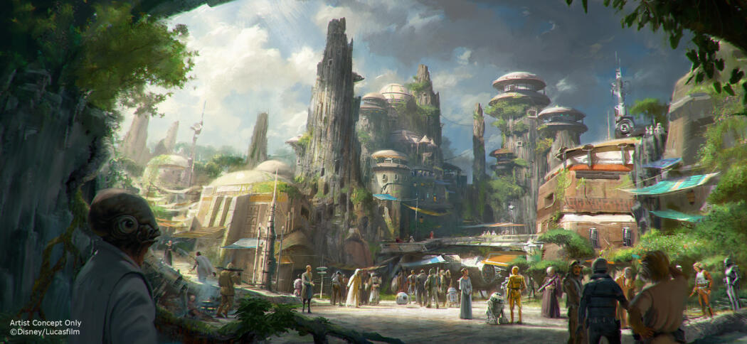 Star Wars-Themed Lands Coming to Disney Parks – Walt Disney Company Chairman and CEO Bob Iger announced at D23 EXPO 2015 that Star Wars-themed lands will be coming to Disneyland park in Anaheim, Calif., and Disney's Hollywood Studios in Orlando, Fla., creating Disney's largest single-themed land expansions ever at 14-acres each, transporting guests to a never-before-seen planet, a remote trading port and one of the last stops before wild space where Star Wars characters and their stories come to life.  These authentic lands will have two signature attractions, including the ability to take the controls of one of the most recognizable ships in the galaxy, the Millennium Falcon, on a customized secret mission, and an epic Star Wars adventure that puts guests in the middle of a climactic battle. (Credit: Disney Parks)