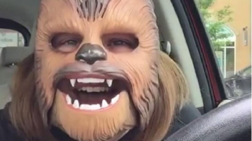 Laughing Chewbacca lady from Facebook and Ellen. Candace Payne. I'm such a happy Chewbacca. (Credit: Candace Payne)